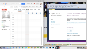 Google Calendar on the left of my Chrome OS Desktop, while Google Remote Desktop is on the right with Visual Studio running in Windows 8.1 Pro